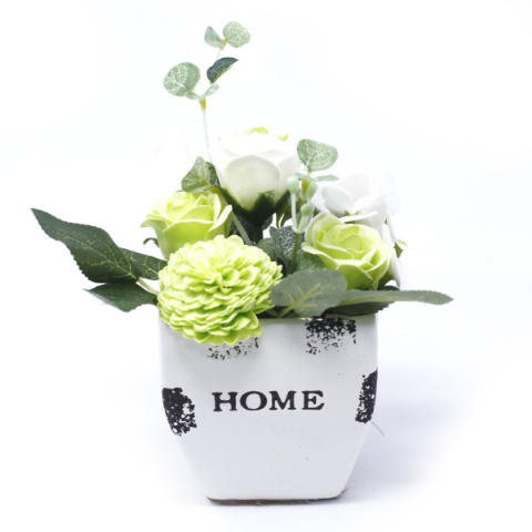 Pastel Green Soap Bouquet Petite Flower Pot